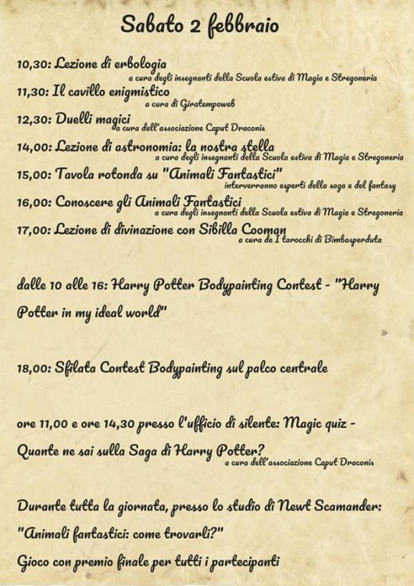 Programma Potteraduno sabato 2 Febbraio