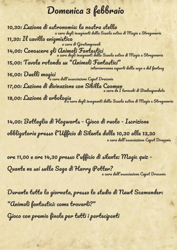 Programma Potteraduno domenica 3 Febbraio