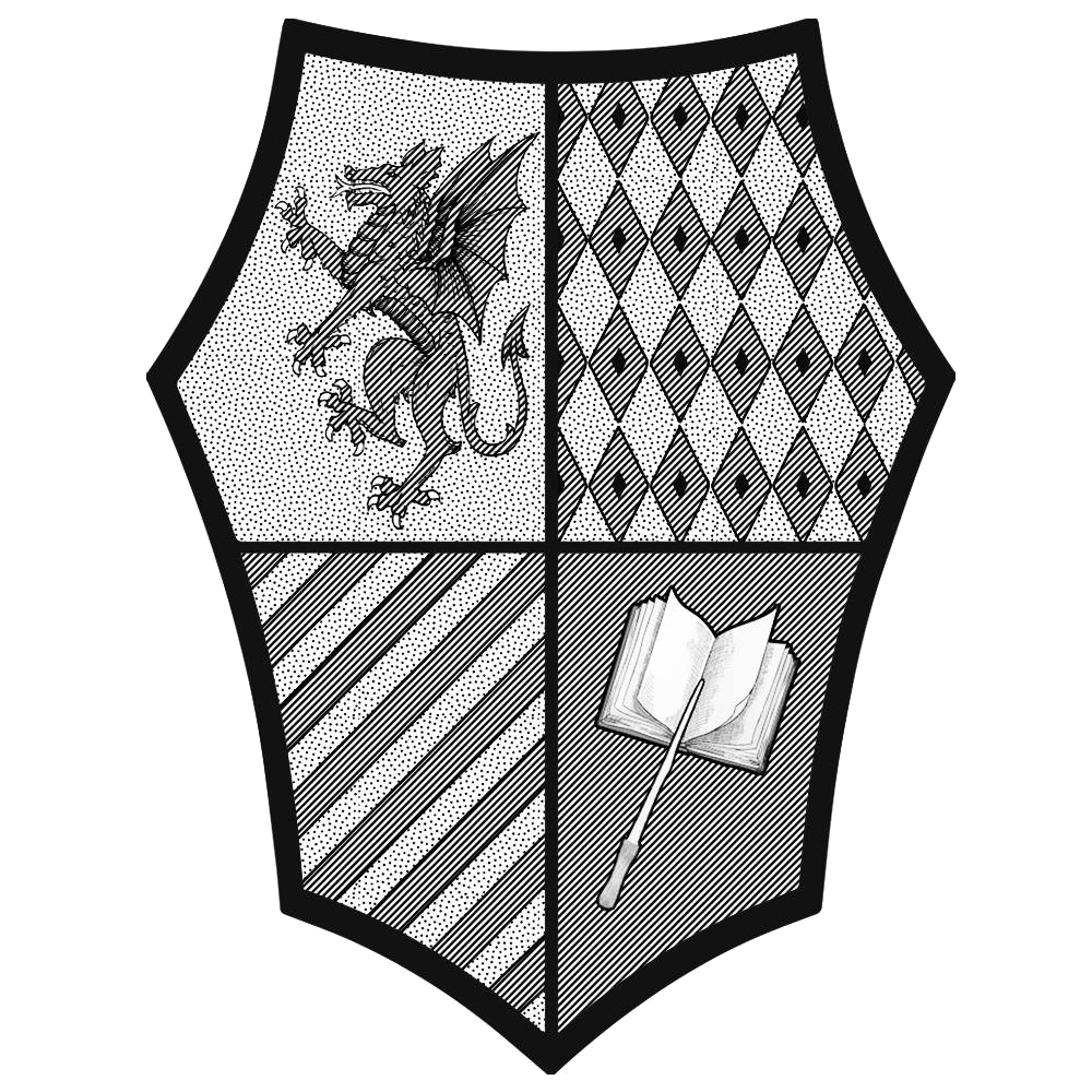 Stemma dell'Accademia Caput Draconis in bianco e nero
